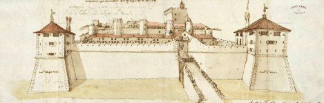 Drawing of the Aljafería Palace in Zaragoza, from the east